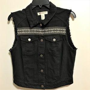 H&M Coachella Jean Vest Sz 12 Black Distressed